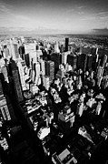 Manhatten Prints - View North East Of Manhattan Queens East River From Observation Deck Empire State Building New York Print by Joe Fox