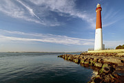 Atlantic Ocean Metal Prints - View of a Red and White Lighthouse Metal Print by George Oze