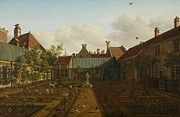 Garden Scene Painting Metal Prints - View of a town house garden in The Hague Metal Print by Paulus Constantin La Fargue