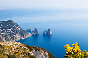 Panoramic Ocean Framed Prints - View of Amalfi Coast Framed Print by Susan  Schmitz