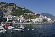 Southern Italy Framed Prints - View of Amalfi Harbor Framed Print by George Oze