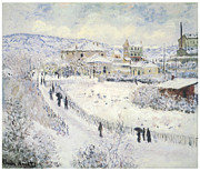 Wintertime Prints - View of Argenteuil Snow Print by Claude Monet