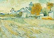Religious Art Painting Prints - View of Asylum and Saint-Remy Chapel Print by Vincent van Gogh
