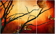 Tree At Sunset Posters - View Of Autumn Poster by Lourry Legarde