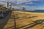Golden Fish Framed Prints - View of Barceloneta Beach Framed Print by George Oze
