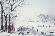 Snowfall Drawings Framed Prints - View of Buckingham House and St James Park in the Winter Framed Print by John Burnet