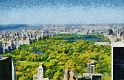 Observation Painting Framed Prints - View of Central park and Manhattan from Observation Deck at Rockefeller Center Framed Print by George Atsametakis