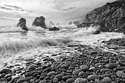 Jamie Pham - View of crashing waves from Soberanes Point in Garrapata State Park in California Black and White.
