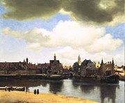 Jan Vermeer Paintings - View of Delft Vermeer by Johannes Vermeer