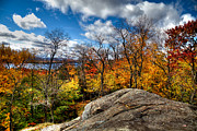 Autumn Leaves Acrylic Prints - View of Fourth Lake from the Eagle Bay Rocks Acrylic Print by David Patterson