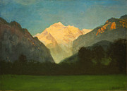 Famous Artists - View of Glacier Park or Sunset on Peak by Albert Bierstadt