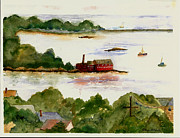 Eastern Point Paintings - View of Gloucester Harbor by Kathryn G Roberts