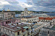 Cuba Mixed Media - View of Havana Cuba by Charles Shoup