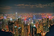Hong Kong Metal Prints - View of Hong Kong from the Peak Metal Print by Lars Ruecker