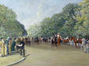 Park Scene Painting Metal Prints - View of Hyde Park with Figures on Rotten Row  Metal Print by Albert Jnr Ludovici