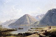 Mountain Valley Paintings - View of Lake Geneva with the Town of Villeneuve by Francis Danby