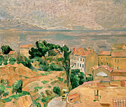 Mountain Road Painting Posters - View of LEstaque Poster by Paul Cezanne