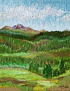 Margaret Paintings - View of Longs Peak from Hollowell Park in Rocky Mtn Natl Park by Margaret Bobb