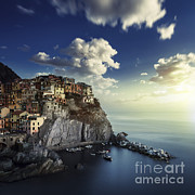 Italian Sunset Posters - View Of Manarola On The Rocks Poster by Evgeny Kuklev