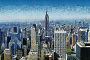 New York State Paintings - View of Manhattan and Empire State Building from Observation Deck at Rockefeller Center by George Atsametakis