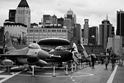 Manhaten Posters - View of Manhattan from the flight deck of the USS Intrepid at the Intrepid Sea Air Space Museum Poster by Joe Fox
