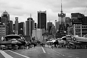 Manhatan Prints - View of Manhattan from the flight deck of the USS Intrepid  new york city Print by Joe Fox