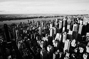 Manhaten Prints - View Of Manhattan North West Towards Hudson River From Empire State Building Print by Joe Fox