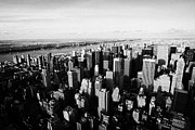 Manhatten Prints - View Of Manhattan North West Towards Hudson River From Empire State Building New York Print by Joe Fox