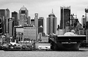 Naval Aircraft Prints - view of manhattan skyline USS Intrepid Aircraft Carrier new york city landmarks Print by Joe Fox