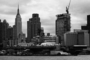 Naval Aircraft Prints - view of manhattan skyline USS Intrepid Aircraft Carrier new york city nyc Print by Joe Fox