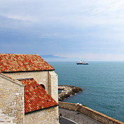 Red Roof Prints - View Of Mediterranean In Antibes France Print by Ben and Raisa Gertsberg
