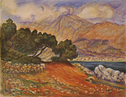 Monet Pastels Prints - View of Menton Print by Wade Starr