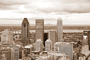 Downtown Montreal Art - View of Montreal in Sepia by Valentino Visentini
