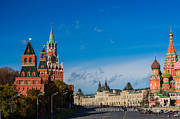 Chimes Posters - View Of Moscow Kremlin Towers And Red Square In Autumn Poster by Alexander Senin