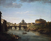 William Marlow - View of Rome from the Tiber by William Marlow