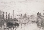 Grey Clouds Drawings Prints - View of Rouen Print by Claude Monet