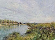 Calm Waters Posters - View of Saint Mammes Poster by Alfred Sisley