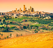 Tuscan Sunset Framed Prints - View of san gimignano - Tuscany Framed Print by Luciano Mortula
