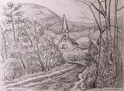 Drive Drawings Posters - View of St. Josephs Church on Dew Drop Drive Poster by Jack Selby