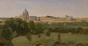 Italian Landscapes Paintings - View of St Peters by Jean Baptiste Camille Corot