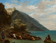 Sailboat Ocean Posters - View of Tangier from the Seashore Poster by Ferdinand Victor Eugene Delacroix
