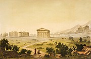 Sky Drawings Posters - View of temples in Paestum at Syracuse Poster by Giulio Ferrario