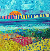 Sunset Prints Tapestries - Textiles Prints - View of the Bridge Print by Susan Rienzo