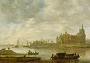 Castle Paintings - View of the Castle of Wijk at Duurstede by Jan van Goyen