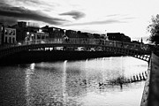 Halfpenny Prints - View Of The Hapenny Bridge Evening River Liffey Dublin Republic Of Ireland Print by Joe Fox