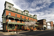 Hunterdon County Framed Prints - View of the Historic Union Hotel in Flemington Framed Print by George Oze