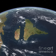 Earth Digital Art - View Of The Indian Subcontinent by Walter Myers