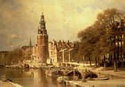 Harbor Paintings - View of the Kalk Market in Amsterdam by Johannes Karel Christian Klinkenberg