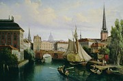 Town Canal Framed Prints - View of the Riddarholmskanalen Framed Print by Gustav Palm