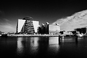 Quay Wall Framed Prints - View Of The River Liffey And The Convention Centre Dublin Republic Of Ireland Framed Print by Joe Fox